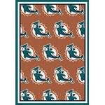 "Milliken NFL Team Repeat (NFL-R) Miami Dolphins 09050 Repeat Rectangle (4000096036) 10'9"" x 13'2"" Area Rug"