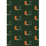 "Milliken College Repeating (NCAA) Miami 01157 Repeat Rectangle (4000018994) 10'9"" x 13'2"" Area Rug"