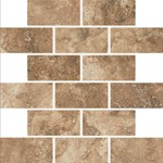"Daltile Esta Villa: Cottage Brown 2"" x 4"" Glazed Porcelain Mosaic Tile EV9924BJMS1P2"