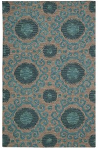 Capel Rugs Creative Concepts Cane Wicker - Coral Cascade Navy (450) Rectangle 6' x 6' Area Rug