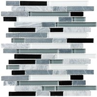 "Anatolia Bliss Glass Stone Blend Linear Mosaic 5/8"" x Random : Midnight 35-012"