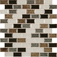 "MS International Crackle Glass Blend Sandy Beaches Glass Mosaic 12"" x 12"" : SMOT-GLSGGBRK-SBB8MM"