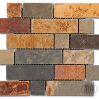 "MS International California Gold Brick Pattern Slate Mosaic 12"" x 12"" : SMOT-BRICK-CG"