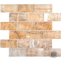 "MS International Giallo Crystal Honey Onyx Mosaic 12"" x 12"" : SMOT-BRICK-HO8MM"